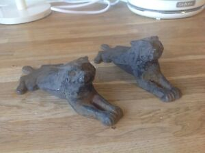 A Pair Of Gothic Antique cast iron Dogs Sash Window Rests Or Stops