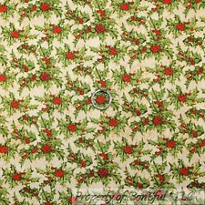 BonEful FABRIC FQ Cotton Quilt Green Leaf Flower Red Holly Berry Xmas Holiday NR