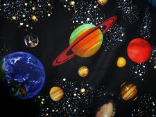STARS SPACE Fabric Fat Quarter Cotton Craft Quilting  SOLAR SYSTEM MOON PLANETS