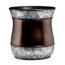 Bathroom Trash Can Bronze Silver Waste Basket Bin Modern Decor Decorative Bath
