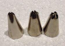 VINTAGE WILTON CAKE DECORATING stainless Steel 3 TIPS (22,67,106)