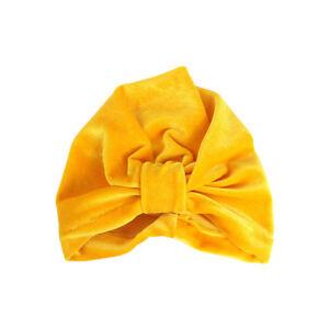 Baby Kids Girls Solid Velvet Stretchy Turban Hat Hair Head Wrap Soft Beanie Cap