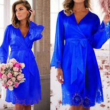 Womens Sexy Silk Satin Deep V Bathrobe Pajamas Robe Lingerie Sleepwear Nightwear