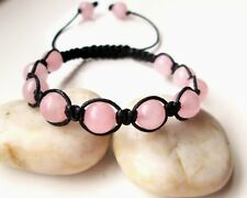 Rose Quartz  natural pink gemstone bead crystal macrame boho shamballa bracelet
