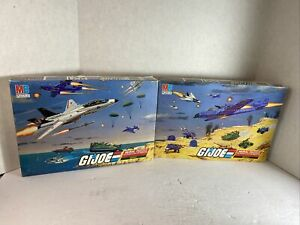 "Set of 4 Milton Bradley GI Joe 221 Piece Mural Puzzle Battle 1-4 12 1/8"" X 16"""