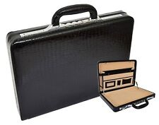 Slimline Black Leather Attache Case Croc Print Briefcase Dual Lock Office Bag