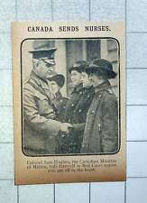 1915 Col Sam Hughes, Canadian Minister Bids Farewell To Red Cross Nurses