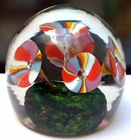 Vintage Italian Venetian Murano Glass Fratelli Toso Paperweight Floral Design
