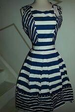 Yumi blue & white dress us sz 8-  navy color & white retails $99  uk sz 14