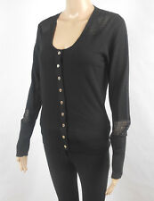 Karen Millen England Black Top Size 3 Long Sleeve Wool Blend Career Sweater