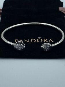 Genuine Pandora Signiture Logo Open Bangle Bracelet 19cm + Pouch