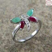 Solid 925 Sterling Silver 100% Natural Ruby, Emerald Gemstone Jewelry Ring US 7