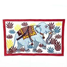 HERMES Elephant pattern Beach towel Red Cotton