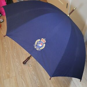 "VTG Polo Ralph Lauren Crest Umbrella Navy Blue Wood Handle 37"" Long RARE"
