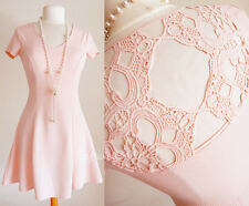 NEW No Boundaries Blush Pink Crochet Back Short Sleeves Fit & Flare Skater Dress