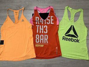3x Women's REEBOK Running Vest Tank Top | Small S | UK 8-10 | Bundle LES MILLS