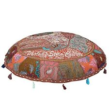 Indian Ottoman Footstool Floor Cushion Cover Patchwork Embroidered Pouf cover