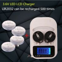 2032 rechargeable button battery 4pcs with charger LIR2032 3.6V USB