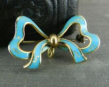 Antique Italian 18K Gold & Turquoise Enamel Bow Pin/ Watch Holder