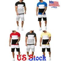 Mens Tracksuit Jogging Plain Sport Suit Short Sleeves T-shirt Tops Short Pants
