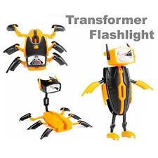 Fun Deformable Transformer Robot LED Flashlight Light Torch Lamp Kids Boy Gift B
