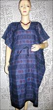 Indian Cotton Om Design Print Women Kaftan Tunic Top Dark Blue Dress Plus Size