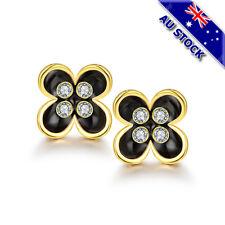 18K Gold Filled Clear Crystal Black Enamel Flower Stud Earrings Gift