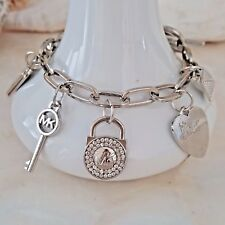 Michael Kors Logo Silver Toggle Chain Link Charm Bracelet Women's Jewelry