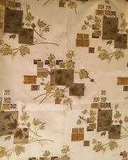 Vintage fibreglass white yellow brown & silver leaf print Retro Fabric c 1950's