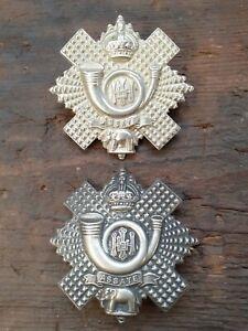 2 original metal cap badges Highland Light Infantry WW1 Kings Crown