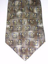 "Croft & Barrow Mens Suit Neck Tie 100% Silk 4""W 57""L Bronze Brown Floral Pattern"