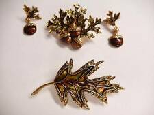 Avon Liz Claiborne Acorn Oak Leaf Lot Brooches Enamel Earrings