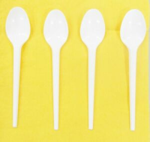 100 plastic Disposable TEASPOONS - cutlery strong good quality thick tea spoons