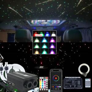 RGB LED Car Interior Ceiling Headliner Roof Meteor Star Fiber Optic Light Combo