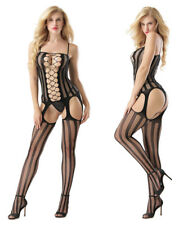 Christmas Xmas Womens Sexy Lingerie Back Open Crotch Cross Body Stocking Catsuit