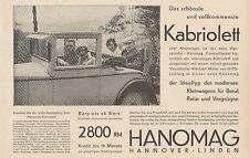 Y4356 Automobile HANOMAG Kabriolett - Pubblicità d'epoca - 1929 Old advertising