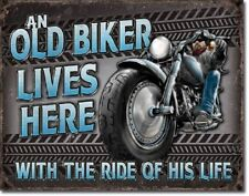 Motorcycle Old Biker Lives Here Harley Service Funny Wall Decor Metal Tin Sign