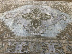 9x12 HANDMADE SILK RUG HAND-KNOTTED muted blue hand-woven modern handmade carpet