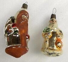 2 Vintage Silver Glass Weihnachten Ornament Christmas Tree Baumschmuck Santa