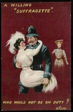 Suffragette Comic. A willing Suffragette by Ellam in Series 523. Policeman.