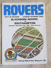 The Official Match Day - Magazine Of Blackburn Rovers & Southampton 1977