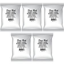 (5 Pack) 1Lb Bag Deep Rich Donut Shop Blend Light Roast Broken Bean Coffee