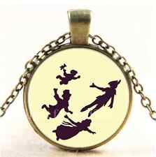 Vintage Peter Pan I CAN FLY Cabochon Glass Bronze Chain Pendant Necklace