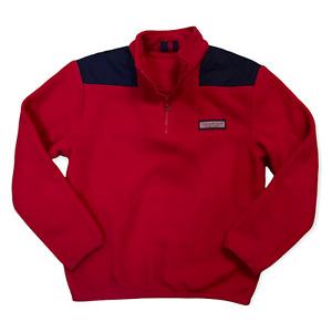 Vineyard Vines Pullover Sweater 1/4 Zip Red Blue Logo Warm Unisex Kids L (16-18)