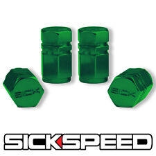 4 PC GREEN HEXAGONAL CHROMED ALUMINUM VENTIL VALVE STEM CAPS FOR TIRES P5