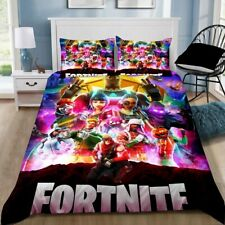 Fortnite Colorful Battle Royale Quilt/Doona/Duvet Cover Pillowcase Bedding Set