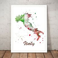 Italy Flag Map Italian Travel Unique Art Poster Print - A4 A3 A2 A1 A0 Framed