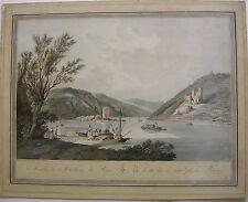 Bingen Mäuseturm Rhein altkolor Orig Umriss-Radierung 1798 Ziegler nach Janscha
