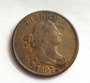 1807 DRAPED BUST 1/2 CENT NEARLY UNCIRCULATED SCARCE THIS NICE!!