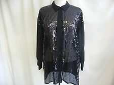 "Ladies Shirt Next size L, black sequined front, bust 44"" length 31"", sheer 7629"